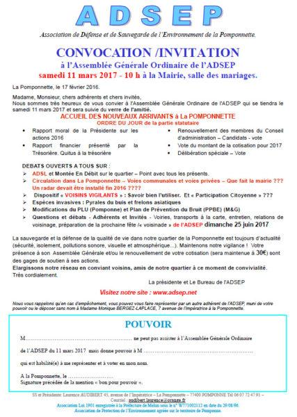 Invitation Assemblée générale ADSEP 2017